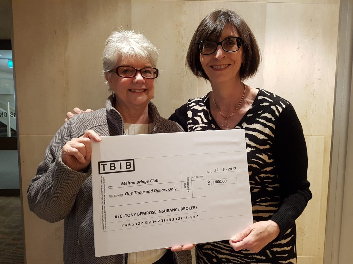 VBA Secretary Kim Frazer (right) presenting the cheque on behalf of TBIB to Rosemary Hare